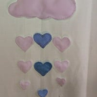 Cloud and Heart felt mobile! Valentines, Baby Nursery mobile, Crib mobile, Wedding, Happy Birthday, Gift. All occasion lullaby mobile.Gift.