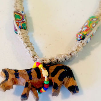 Authentic Kenyan Hand Carved Zebra, Hand Painted Beads on  Hemp Necklace