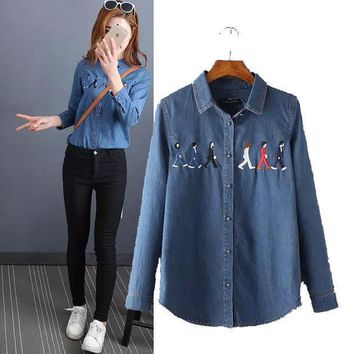 PEAPIX3 Stylish Long Sleeve Embroidery Denim Women's Fashion Shirt Blouse [4919021828]