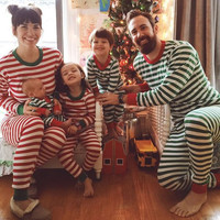 Christmas Family Women Men Sleepwear Pajamas Set Striped Cotton Pyjamas Outfits