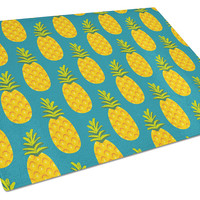 Pineapples on Teal Glass Cutting Board Large BB5145LCB