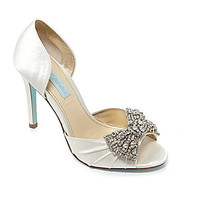 Blue by Betsey Johnson Gown Jeweled Peep-Toe Pumps - Ivory
