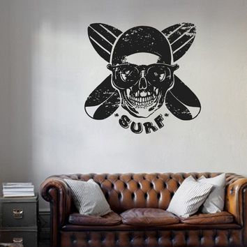 ik1121 Wall Decal Sticker skull board surfing wave ocean Hawaii room bedroom