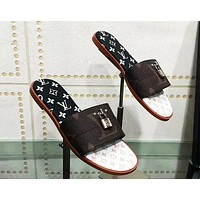 LV 2019 new color matching lock buckle ladies sandals and slippers #4