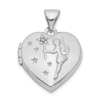 925 Sterling Silver Rhodium-Plated Heart with Diamond Fairy Wishes Locket
