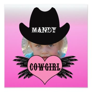 Custom Add Photo Cowgirl Birthday Invitation