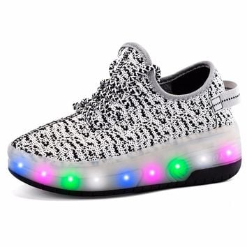 Boys Girls Double Wheels Skate Shoes Roller Glowing Sneakers Breathable Fabric Chargeable LED Full Light Shoes 29-41 Kids