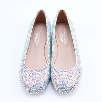 Handmade AB crystal Rainbow color flats slip on ,  rhinestone shoes low heel party wedding shoes pumps ,  other colors available too