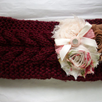Knit Head Ear Warmer Women Shabby Flowers Ribbon Bow Detail, One of a Kind Headband