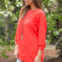 Slouchy Dolman Tunic, Coral