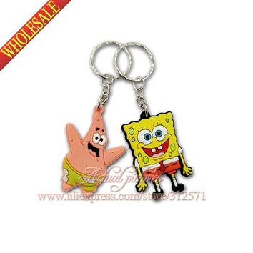100Pcs/lot  Sponge Bob Key Chains Accessories  Action figure Keyrings Keychains Kids Toy Key Holder Travel  accessories