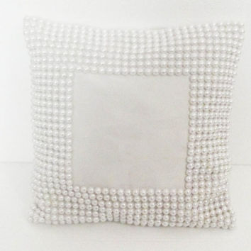 Custom bridal information ,bridal frame pillow ,white cushion cover-white pearl border 12x12 inches vintage chic pillow style