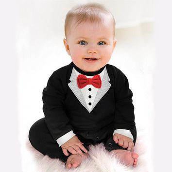 Tiantianhu 2017 New Newborn Baby Rompers Clothing Children Boys Clothes Tie Gentleman Bow Leisure Toddler Jumpsuit for Baby Bebe