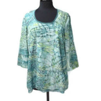 Simply Vera Wang Womens Artsy Green Blue Stylish Tunic Top Shirt Size L Large