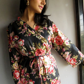 Ankle length Black Kimono Robe - Floral Crossover Robe..getting ready robe, bridal robe..make lovely pre-wedding photos..wedding favors