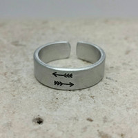 Double Arrow Adjustable Ring- Aluminum Ring - Stamped Ring - Made To Order