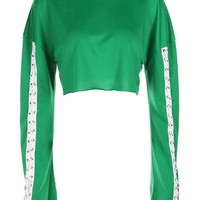 Lace Up Long Sleeve Green Crop Top