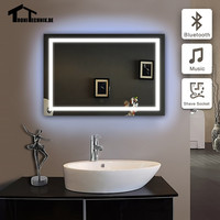 UK  Shipping 50X70CM 90-240V Bluetooth illuminated wall mirrors for bathroom piegel badkamer LED Frame bath mirror  Wall IP44