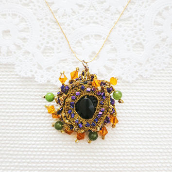 Black Gold Pendant  Black Onyx Gold  Green Orange Autumn by sukran