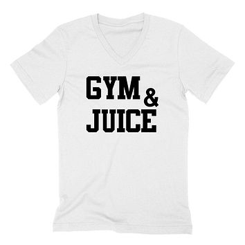 Gym and juice, workout clothing, gym, fitness, yoga  V Neck T Shirt