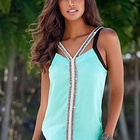 Mint Multi (MMLT) Beaded Cut Out Top