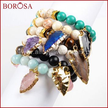 BOROSA Exclusive Gold Color Roungh Multi-Kind Stones & Quartz Arrowhead Bracelet with 10mm Mixed Stones Beads G752