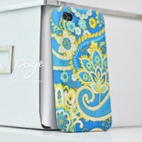 Apple iphone case for iphone iphone 5 iphone 4 iphone 4s iPhone 3Gs  : Abstract vintage blue flower pattern