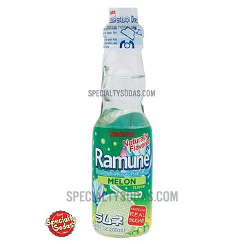 Sangaria Ramune Carbonated Soft Drink Melon Flavor 200ml Glass Bottle