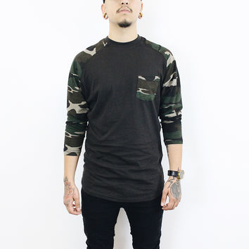 Tom Baseball T-Shirt (Black/ Camo Green)