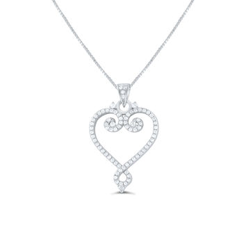Sterling Silver Cz filigree Heart Necklace 18""