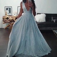 Deep V Neck Sexy Long Prom Dresses