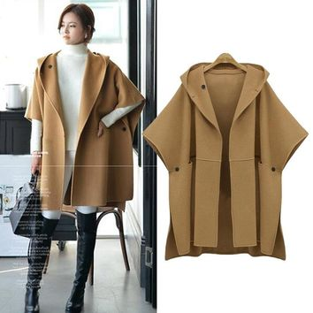 New Fashion Autumn Winter Solid Color Hooded Button Pockets Wool Coat Sleeve Casual Open Stitch Women Wrap