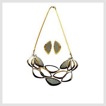 "Necklace Stainless Steel Multi-tone  Ovals 20"" with Matching Earrings"