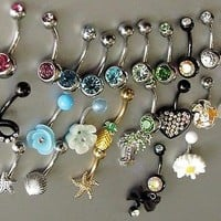 New Belly Rings Navel Piercing 23 Pack 14G Stainless Steel Body Jewelry