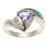 GENUINE 0.51CT TRILLION TANZANITE AUSTRALIAN OPAL DIAMOND RING 14K WHITE GOLD