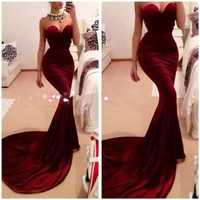 Vestidos De Formatura 2015Free Shipping Mermaid Sweetheart Red Wine Long Burgundy Prom Dresses Evening Gowns Long Fitted Velvet