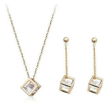 USTAR Cube inside Zircon Crystals Jewelry Set for women Gold color Drop Earrings and Pendant Necklace Bride Wedding gift bijoux