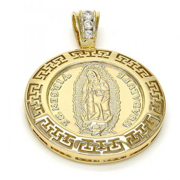 Gold Layered Religious Pendant, Guadalupe and Greek Key Design, with Cubic Zirconia, Gold Tone