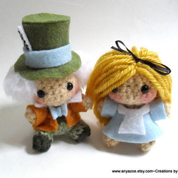Alice and Mad Hatter Amigurumis by AnyaZoe on Etsy
