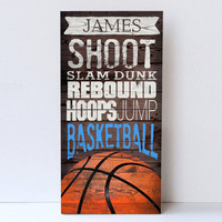 Basketball Wall Art - Sports Room Decor - Personalized Gifts for Kids - Custom Framed Canvas  - Basketball Sports Wall Decor by Misty Diller