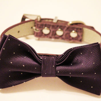 Purple Dog Bow Tie - Purple Dog Bow tie with high quality purple leather, Chic and Elegant, Dog Wedding Accessory