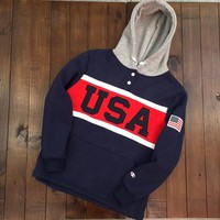 """""""Champion"""" Unisex Retro Multicolor Letter Embroidery Long Sleeve Hooded Sweater Couple Thickened Pullover Hoodie Tops"""