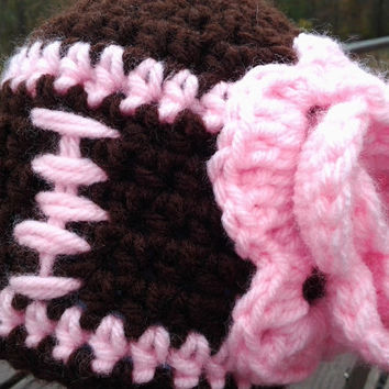 Crochet Pink Football Hat. Football. Girls Football Hat. Infant Girls Football Hat. Baby Girl Hat.