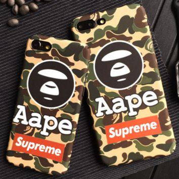 Supreme BAPE SHARK Camouflage shark beak iphone 7iphone  6s 7iphone  7plus full bag frosted lovers case hard shell