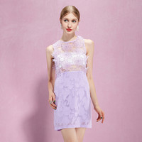 Purple Lace Embroidered Halter Neck Sleeveless Mini Dress