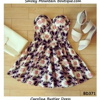 Carolina Floral Bustier Dress with Adjustable Straps - Size XS/S/M BD 371 - Smoky Mountain Boutique