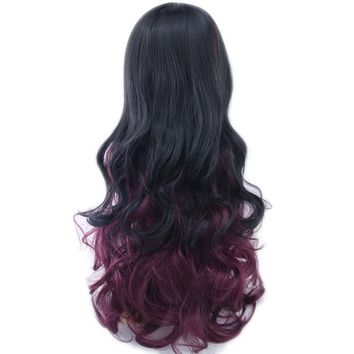 Soowee 13 Colors Women Hair Ombre Color High Temperature Fiber Wigs Black to Burgundy Synthetic Hair Cosplay Wig Peruca