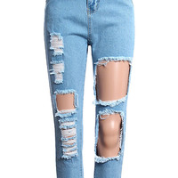 ROMWE High Waist Distressed Light Blue Denim Pants