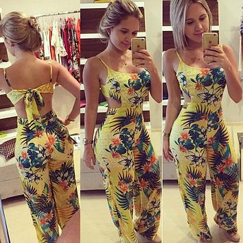 Women Backless Floral Party Jumpsuit Playsuit Bodycon Romper Trousers Clothing