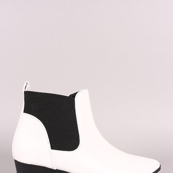 Qupid Pointy Toe Chelsea Ankle Boots